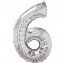 "Silver Number 6 Balloon - Foil Number Balloon 1pc (34"" Qualatex)"